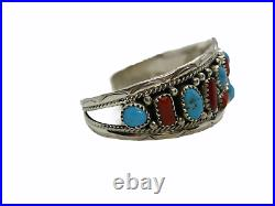 Native American Made Sterling Silver Turquoise & Coral Anita Whitegoat Bracelet