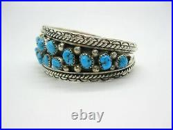 Native American Made Sterling Silver Turquoise Nugget Cuff Bracelet