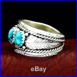 Native American Made Sterling Silver Turquoise Ring Select Size - R38 A X