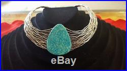Native American Made Turquoise Choker with sterling silver wire