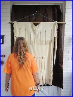 Native American Made White Buckskin Plains Indian Dress (Large)