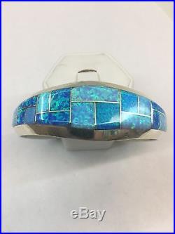 Native American Native Hand Made Sterling Silver Blue Opal Cuff Bracelet