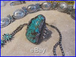 Native American Natural turquoise, outstanding man's bracelet, made in 1965