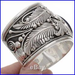 Native American Navajo Big Boy Sterling Silver LAPIS Bracelet s7-8.5 Made USA