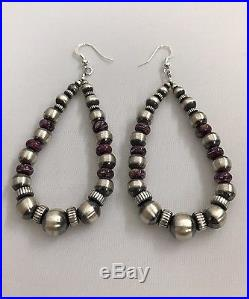 Native American Navajo Hand Made Old Look Beads Spiny Oyster Dangle Earring