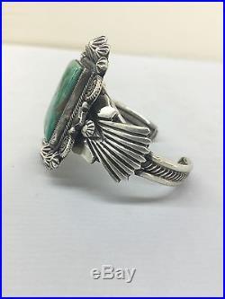 Native American Navajo Hand Made Sterling SilverCuff Bracelet Royston Turquoise