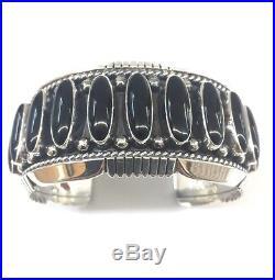 Native American Navajo Hand Made Sterling Silver Black Onyx Cuff Bracelet
