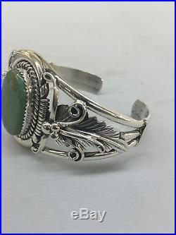 Native American Navajo Hand Made Sterling Silver Cuff Bracelet W Turquoise WOW