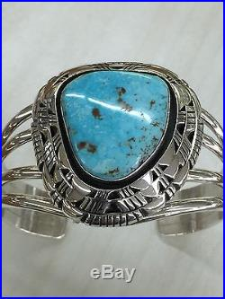 Native American Navajo Hand Made Sterling Silver Cuff Bracelet With Turquoise
