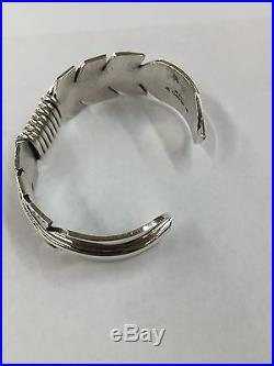 Native American Navajo Hand Made Sterling Silver Feather Cuff Bracelet