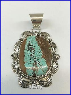 Native American Navajo Hand Made Sterling Silver Green #8 Turquoise Pendant