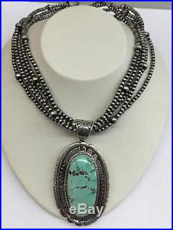 Native American Navajo Hand Made Sterling Silver Green Turquoise Necklace Wow