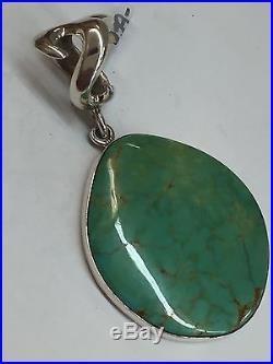 Native American Navajo Hand Made Sterling Silver Kingman Turquoise Pendant