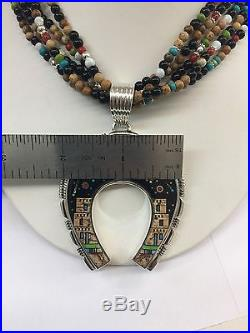 Native American Navajo Hand Made Sterling Silver Night Sky Naja Necklace
