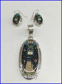 Native American Navajo Hand Made Sterling Silver Night Sky Pendant Earrings Set
