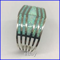 Native American Navajo Hand Made Sterling Silver Opal Inlay Cuff Bracelet