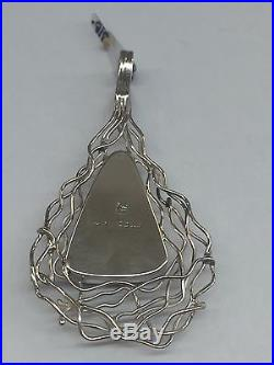 Native American Navajo Hand Made Sterling Silver Purple Spiny Oyster Pendant