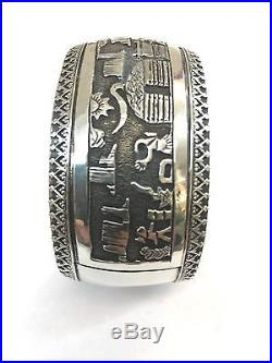 Native American Navajo Hand Made Sterling Silver Story Teller Cuff Bracelet