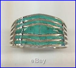 Native American Navajo Hand Made Sterling Silver Turquoise Inlay Cuff Bracelet