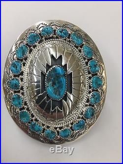 Native American Navajo Hand Made Sterling Silver With Turquoise Belt Buckle