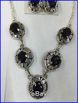 Native American Navajo Indian Hand Made Sterling Silver Amethyst Necklace Set