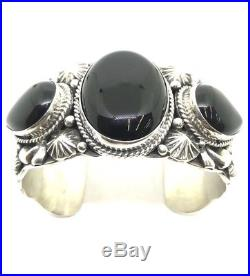 Native American Navajo Indian Hand Made Sterling Silver Black Onyx Cuff Bracelet