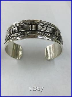 Native American Navajo Indian Hand Made Sterling Silver Cuff Bracelet By Morgan