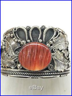 Native American Navajo Indian Hand Made Sterling Silver Cuff Bracelet With Spiny