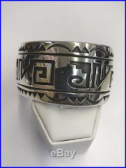Native American Navajo Indian Hand Made Sterling Silver Over Lay Cuff Bracelet