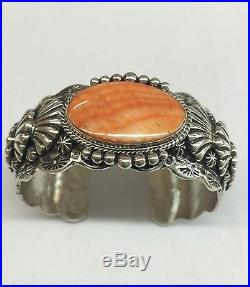 Native American Navajo Indian Hand Made Sterling Silver Spiny Oyster Bracelet