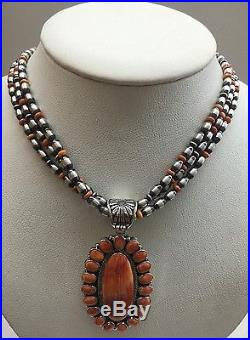 Native American Navajo Indian Hand Made Sterling Silver Spiny Oyster Necklace