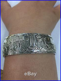 Native American Navajo Indian Hand Made Sterling Silver Story Teller With Horses