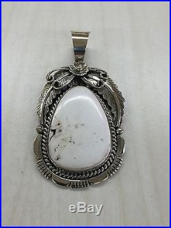 Native American Navajo Indian Hand Made Sterling Silver White Buffalo Pendant