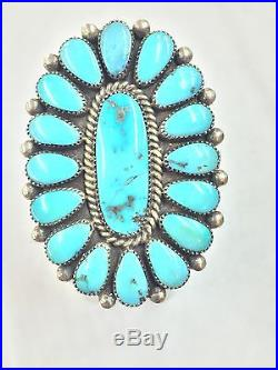 Native American Navajo Indian Hand Made Vintage Sterling Silver Turquoise Ring 7
