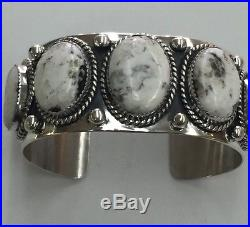 Native American Navajo Indian Made SS Cuff Bracelet With White Buffalo Turquoise