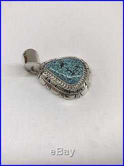 Native American Navajo Indian Made Sterling Silver Spiderweb Turquoise Pendant