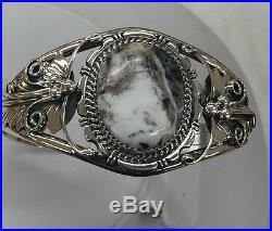 Native American Navajo Indian Made Sterling Silver White Buffalo Cuff Bracelet