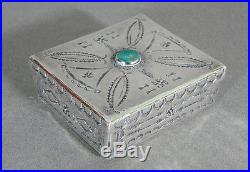 Native American Navajo Indian Sterling Silver BOX Turquiose Hand Made