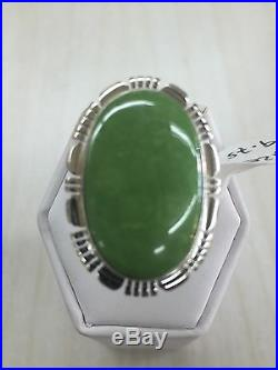 Native American Navajo Indian Sterling Silver Hand Made Gaspeite Ring Size 9.75