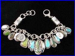 Native American Navajo Made Turquoise Charm Bracelet by Kerah Tsosie