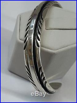 Native American Navajo Plain Sterling Silver Hand Made Cuff Bracelet