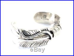 Native American Navajo Sterling Silver Hand Made Feather Design Cuff Bracelet