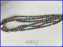 Native American Navajo Sterling Silver Hand Made Multi Color Stones Necklace