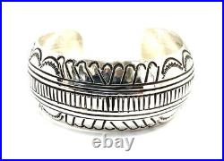Native American Navajo Sterling Silver Hand Made Silver Stamp Cuff Bracelet