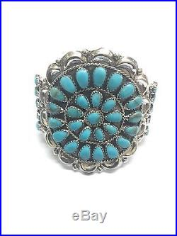 Native American Navajo Sterling Silver Hand Made Turquoise Cluster Cuff Bracelet