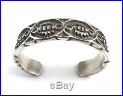Native American Navajo Sterling Silver Navajo Hand Made Stamp Cuff Bracelet