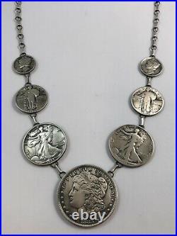 Native American Necklace Made withSilver VTG U. S. Coins. Morgan Dollars, Halves