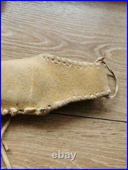 Native American Plain Indian Beaded Knife Leather Sheath Vintage Made