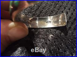 Native American Silver Cuff Turquoise Braclet Hand Made One Of A Kind - Signed