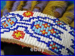 Native American Sioux Headdress Made In Pine Ridge, S. D
